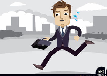 Executive with briefcase in a hurry - Free vector #180203