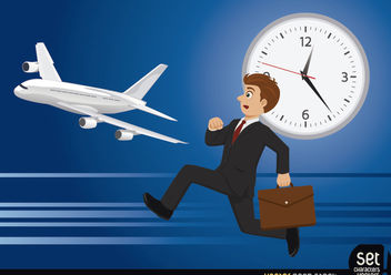 Businessman loosing his flight - Free vector #180263