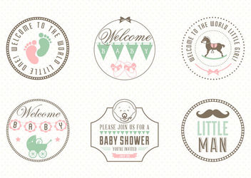 Vintage Baby Concept Labels Pack - Free vector #180363
