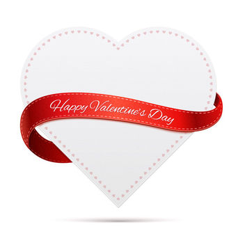 Labeled Ribbon Heart Valentine Card - Kostenloses vector #180423