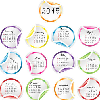 Flipped Edge Multicolor Rounded Sticker Calendar 2015 - vector #180443 gratis