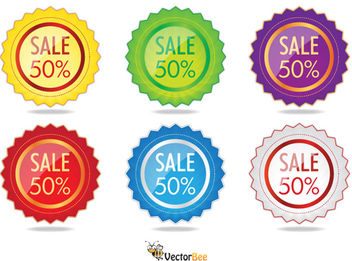 Colorful Glossy Starry Sale Label Pack - бесплатный vector #180463