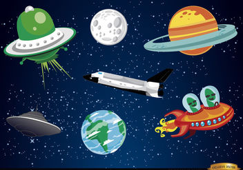 Outer space cartoon elements - Free vector #180473
