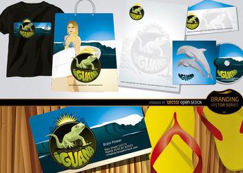 Iguana branding beach theme - vector gratuit #180493