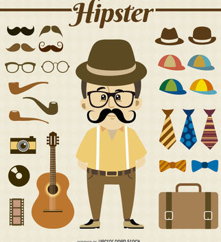 Hipster Character with elements - бесплатный vector #180693