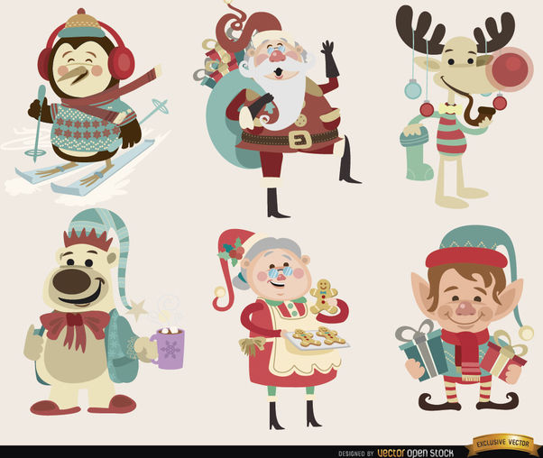6 Christmas cartoon characters - Free vector #180743