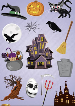 15 Horror Halloween cartoon elements - Free vector #180753