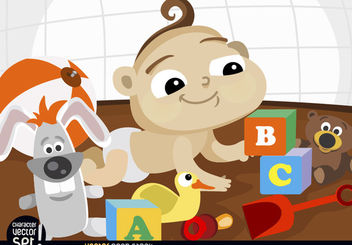 Cartoon baby playing with toys - Free vector #180923