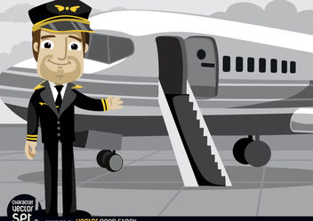 Pilot in front of plane - vector gratuit #180943