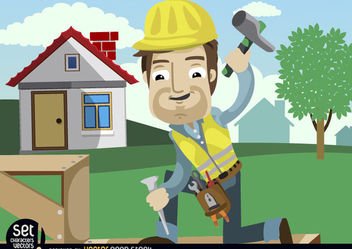 Construction Worker hammering chisel - Free vector #181003