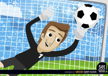 Cartoon Goalkeeper stops football - Free vector #181023