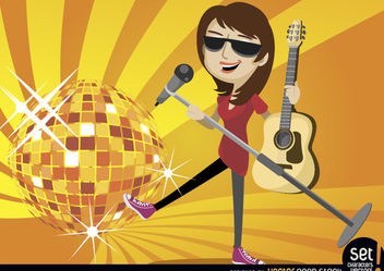 Female singer guitarist with disco ball - Free vector #181063
