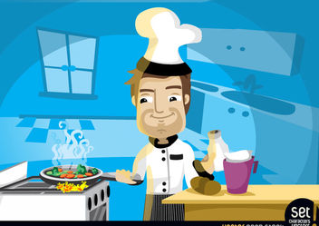 Chef Cooking in the Kitchen - Free vector #181093