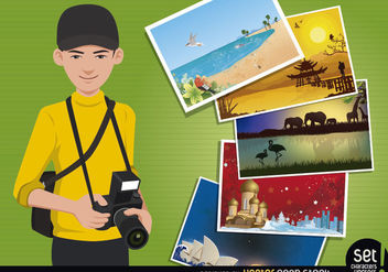 Travel Photographer Concept - Free vector #181113
