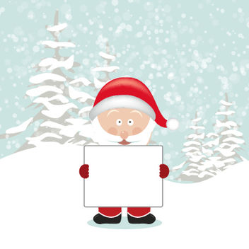 Santa Cartoon Holding Empty Board - vector gratuit #181143