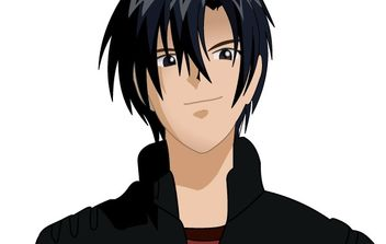 Black haired anime character boy - Free vector #181163