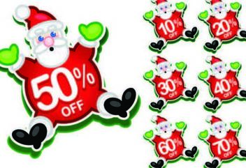 Happy Santa Claus Discount Stickers - Free vector #181193