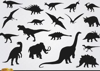 Dinosaur prehistoric animal silhouettes - Free vector #181273
