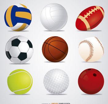 9 Vector Sport Balls - бесплатный vector #181563