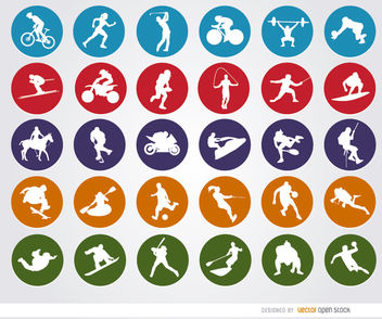 30 Sport circle icons - Free vector #181593