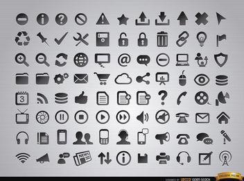 88 Web menus and media icons - бесплатный vector #181673
