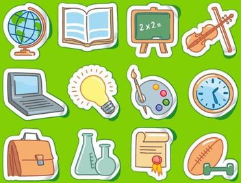 Sticker Set with Funky School Themed Icon - Free vector #181723