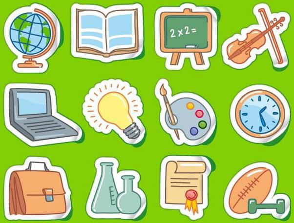 Sticker Set with Funky School Themed Icon - vector #181723 gratis