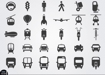 Transport icon set - vector gratuit #181733