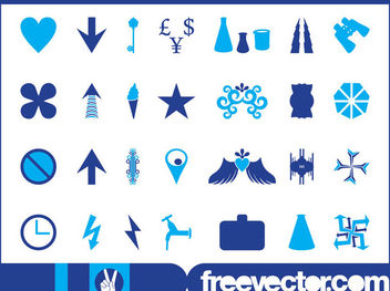 Blue Icon & Symbol Pack - Free vector #181773