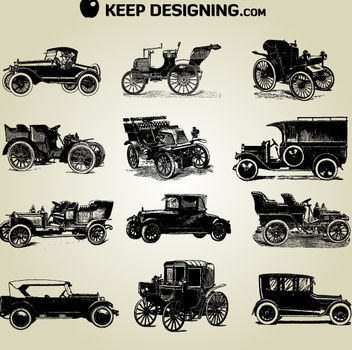 Grungy Detail Vintage Car Pack - vector gratuit #181813
