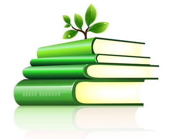 Tree Planted on a Stack of Green Books - vector gratuit #181893