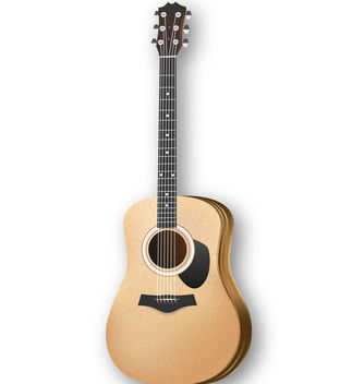 Acoustic Wooden Body Music Guitar - Free vector #182003