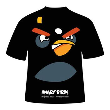 Black Angry Bird T-Shirt - vector #182073 gratis