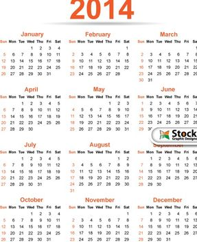 Simple & Classy Template 2014 Calendar - Free vector #182153