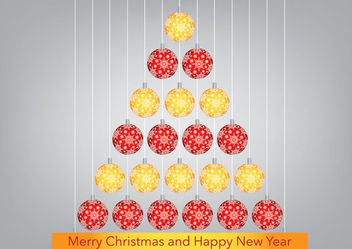 Red Orange Hanging Christmas Balls Tree - vector gratuit #182203