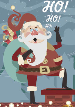 Christmas Santa Claus over chimney - vector gratuit #182213