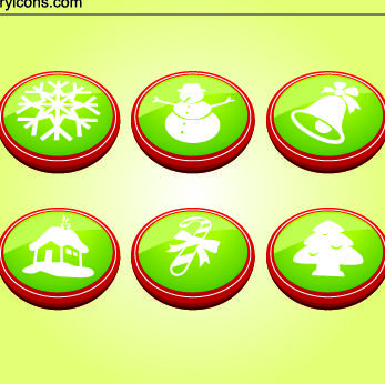 6 Christmas Buttons - Free vector #182283