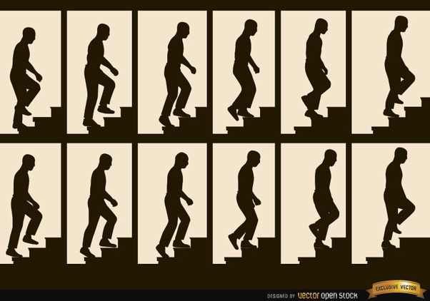 Man climbing stairs sequence frames silhouettes - Free vector #182333