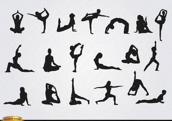 Women doing Yoga silhouettes - Free vector #182383
