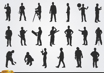 Construction workers silhouettes - Free vector #182393