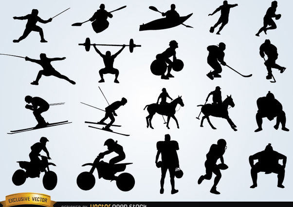 Sport silhouettes pack - vector #182403 gratis
