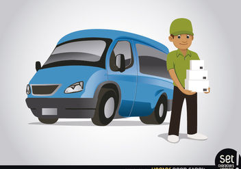 Delivery character with blue van - vector #182483 gratis