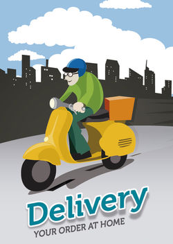 Delivery motorcyclist city - Free vector #182503