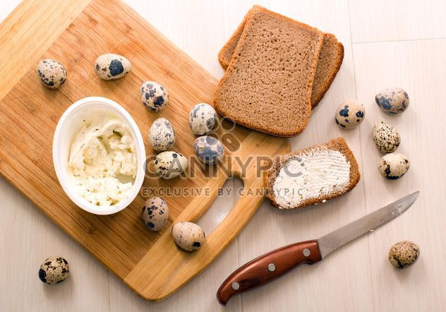 Quail eggs, Borodino bread with cheese curd - Free image #182663