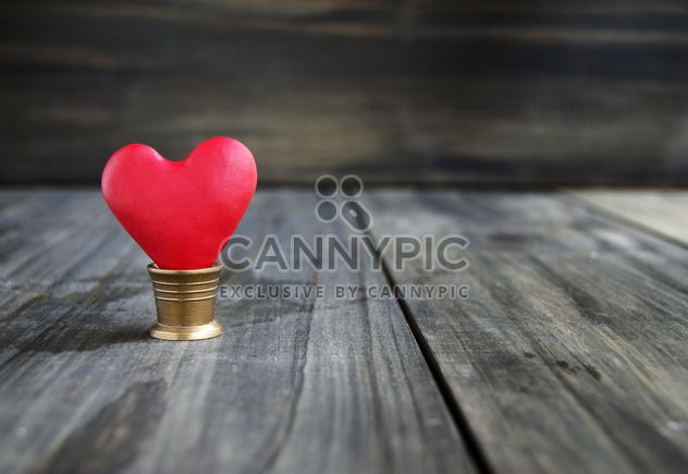 little heart in a bucket on a wooden background for Valentine's Day - Free image #183883