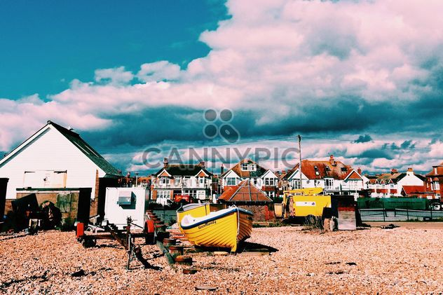 Houses and boats under cloudy sky, England - Free image #183913