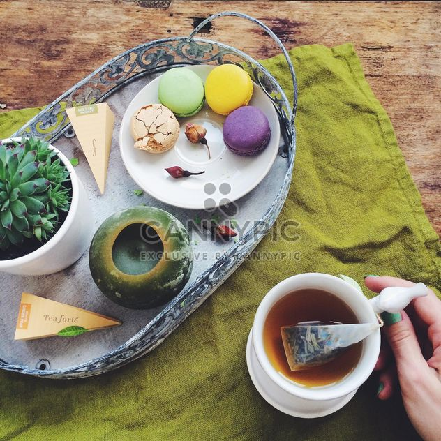 Macarons, tea, breakfast - Free image #184663