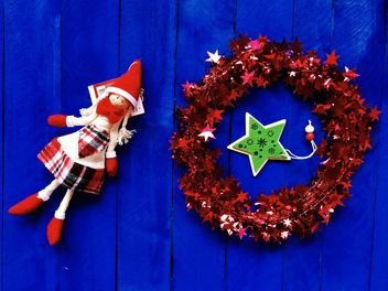 Christmas decorations on blue background - бесплатный image #186603