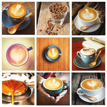 Collage of photos with coffee and latte - image gratuit #187013