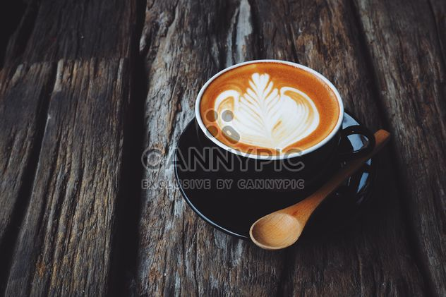 Coffee latte art on wooden background - Free image #187103